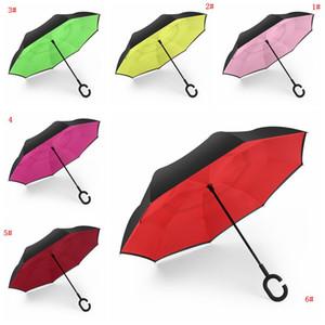 Parapluies Creative Inverted arrière pliant double couche avec C poignée Inside Out arrière Umbrella coupe-vent ensoleillé de pluie Umbrella DBC VT0387