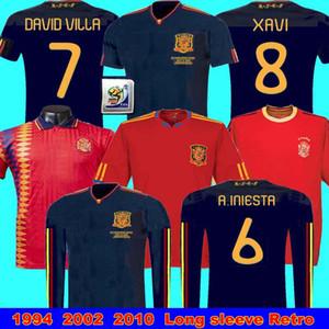 finale jersey rétro Espagne 2010 2002 Player1994 Coupe du Monde RAUL XAVI LUIS ENSRIQUE XAVI ALONSO 2010 Espagne à manches longues Retro Davad David Villa