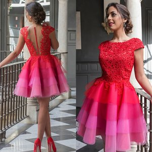 Red 2020 Elegant Cocktail Dresses A-Line Cap Sleeves Short Mini Tulle Lace Rainbow Tiered Party Plus Size Homecoming Dresses
