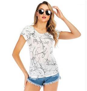 Женская Tshirts моды с коротким рукавом Тонкий женщин Crew Neck Top Summer Ladies Casual Tee Цветочные Print Designer