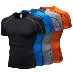 Men Sports T-shirts Short Sleeve Fitness Running Tight Tops Mens Quick Dry Gym T Shirts Breathable Bodybuilding Workout Top 050704