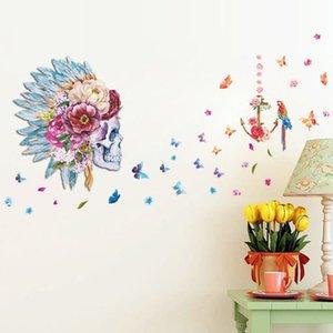 20190621 New 3D penas criativas tridimensionais, flores, borboletas, caveiras, murais decorativos, paredes e adesivos de fundo quarto