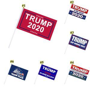 Hand Held Trump Presidente Bandeira Donald Trump Bandeira Grommets para o presidente 2020 Hand Held Flags DHD391