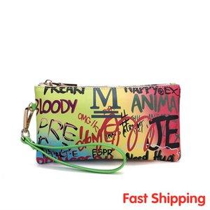 Rainbow Colors Bags 2020 Hot Women Colorful Wallets Graffiti Ladies Clutch Bags Leisure Female Lazer Bright Purse New Coin Purse