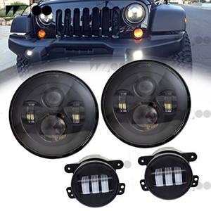 for JeeP Wrangler Jk 2007-2016 7 inch 40w Round LED Headlight DRL+DRL Fog Lamp 4 inch +LED Tail Lights Rear Brake Reverse Lamp