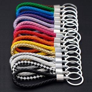 Erkekler Kadınlar Anahtar Tutucu Kapak Oto Anahtarlık Hediyeler Toptan P için Gümüş Kaplama El Yapımı Deri İp Dokuma Anahtarlık Metal Anahtar Yüzükler Anahtarlıklar