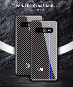 Tempered glass for Samsung Galaxy S8 S9 S10 E S20 plus note 8 9 carbon fiber Luxury car logo phone case bmw sline RS Free Shipping