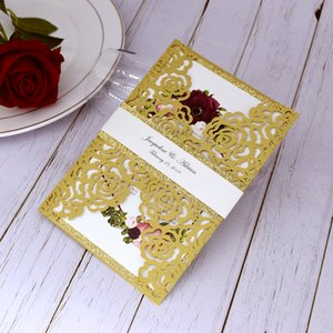 Luxury Gold Glitter Laser Cut Wedding Invitation with Belly Band Glittery Bottom Invitations for Quinceanera Anniversary Evening Invites