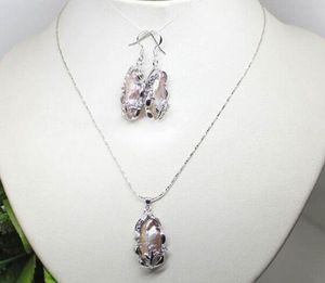 Jewelryr Pérola Set Jóias Natural Roxo Biwa Pearl Pendant Colar Brinco Ring Set frete grátis