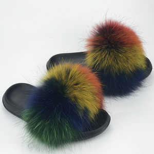 2019 New Fashion Real Fox Pantofole per capelli Capelli Flip Flop Scarpe estive Spiaggia Slifts Slifts Slip On Shoes Shoes Pantofole Furry 1Pairs / 2PCS
