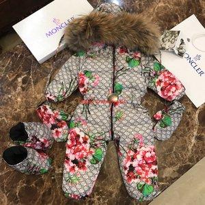 NewBaby jaqueta para baixo crianças roupas de grife de inverno novo Bebê macacão luvas pés de ganso pena cheia macacão Congelado personalizado