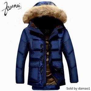 Wholesale- KUAMAI Mantel Kleidung Winter Nagymaros Kragen Warm Snow Horn-Knopf Duck Down Jacket Men XXXL