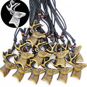Venta al por mayor LOTE 12 unids Yak hueso tallado ciervos de navidad ciervos Reno elk buck collar gargantilla regalo afortunado XL45