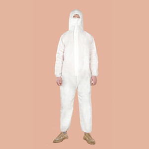 White Isolation Gown Disposable Protective Clothing Safety Hazmat Suit Full Body Coverall Clothes Overall Protection Stock Fast Shippping