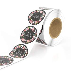 500pcs / rouleau floral vous remercient Autocollants Décor de mariage sceau label d'étiquette Stickers Scrapbooking main Craft Enveloppe de cuisson Cadeau Carte Invitation