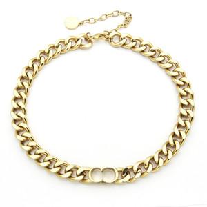 joyería de moda de acero inoxidable D carta simple grueso rgold collar de plata para mujer