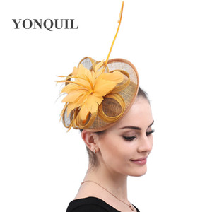 Gold Fascinators with Feathers and Vintage Feather Headpiece Elegant ladies day Church Party Hat Wedding Brides Hair Accessories free ship