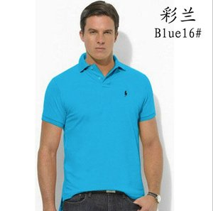 Hot horse New 2019 crocodile Brand Men t shirt Solid Color short-Sleeve Slim Fit Cotton 100% Shirts 22colors Free Shipping T930