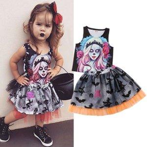 2019 Marque Nouveau mode Nouveau-né Kid Baby Girls Halloween Sets Estivaux Graffiti Gilet Hauts Tulle Jupe plissée 2Pcs Tenues 1-6T