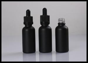 Childproof 탬퍼 캡 및 유리 튜브 스포이드 에센셜 오일 병 30ML 블랙 젖빛 유리 병