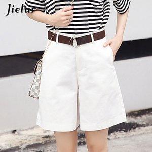 Jielur Korean Fashion Casual Summer Shorts Women Loose Wide Leg Pantalon Femme Belt Green White High Waist Shorts Female S-XXL T200603