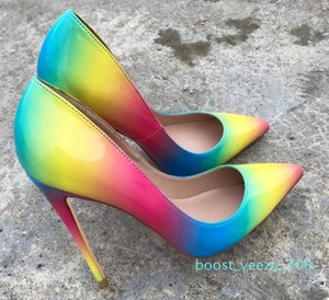 2020 Hot Sale-New Spring Female Denim Stitching White-heeled High-heeled Shoes Red Bottom Spiked Sexy Shallow-mouthed Women Dress Shoes b70