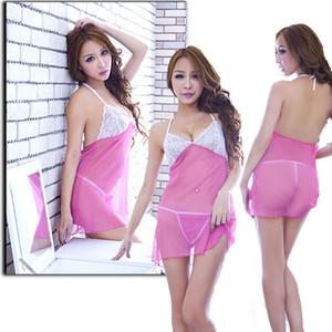 Femmes Sexy Lingerie de nuit en dentelle Teddy G-string Sous Babydoll vêtements de nuit exotique Set 3FS