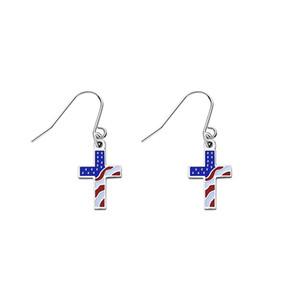 Bandeira dos EUA cruz brincos pendurados para as mulheres Stars and Stripes lustre brinco estilo nacional de aço Inoxidável moda jóias coloridas