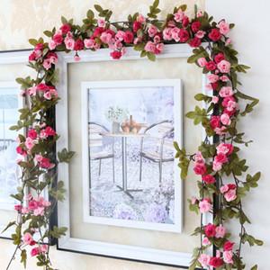 Mode 230 cm Hochzeit Dekorationen Gefälschte Seide Rosen Ivy Vine Künstliche Blumen Mit Grünen Blättern Hängende Girlande Für Wohnkultur