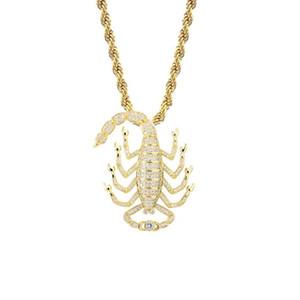 Hip Hop Necklaces Jewelry Fashion Luxury Men Women Bling Zircon Gold Silver Color Copper Scorpion Punk Pendant Necklaces