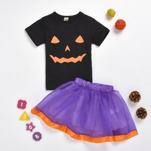 2020 Halloween Girls Skirt Suits Short Sleeve Pumpkin Print T-shirts Top + Tutu Skirt 2pcs set Outfits Boutique Children Clothing Sets M2189