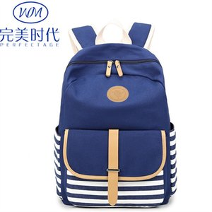 2019 Cinturón de verano Rayas azul marino Ambos hombros Mochila de lona Una bolsa Estudiante de secundaria Escuela de ambos hombros Paquete de mujer