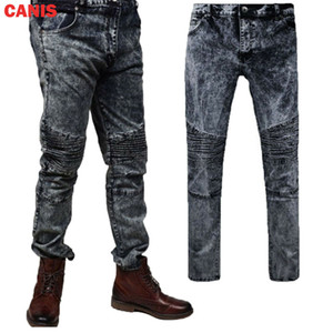 Homens elástico rasgado magros Biker Jeans Destruído gravado Slim Fit Black Snow Effect Denim Pants Tamanho 28-36