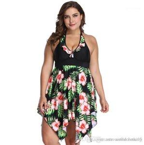 Plus Size Women Bikini Blume Tankinis Strand Big Size tiefer V-Ansatz Halter Bras Kleid Bikini