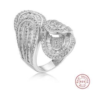 Большой игристые стерлингового серебра 925 кольцо роскошный лист проложить камень имитация Алмаз кольца коктейль обручальные кольца для женщин подарок