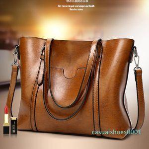 SND Women bag Oil wax Women's Leather Handbags Luxury Lady Hand Bags With Purse Pocket Women messenger bag Big Tote Sac Bols AC21