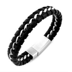 Mens Boys PU Leather Braided Wristband Bracelet Steel Bangle Wrap Black