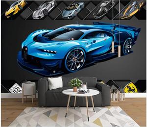 WDBH Custom photo 3d wallpaper Cool blue sports car car tv background children's room home decor wallpaper for wall 3 d