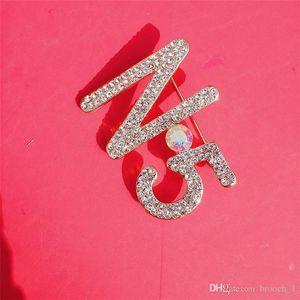 Ювелирные изделия высокого качества Rhinestone Брошь штыри Блестящая Bling кристаллический номер 5 штыри отворотом броши Unisex Мода Одежда броши Свадебный костюм