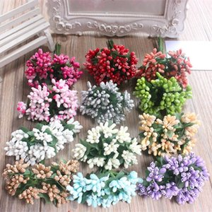 Cheap 12pcs Artificial Bud Stamen Berry Bacca Flower For Wedding Decoration DIY Scrapbooking Decorative Artificial flowers D19011101