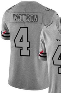 2020 Man Houston 4 Jersey T-shirt brodé et 100% chanvre piquées Ash Throwback Limited Jersey Jersey Football américain