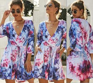 Sommer-Dame Sexy Strampler Frauen tie dye-Overall Playsuit Short Sleeve V-Ausschnitt lose beiläufiges buntes Kleid