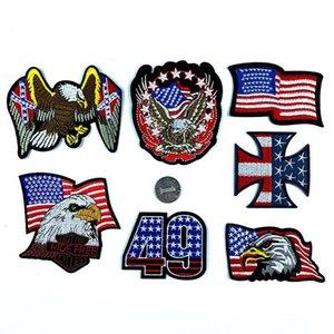7pcs / lot EUA remendo da bandeira americana águia bandeira da estrela da bandeira bordado DIY Etiquetas roupas da moda farbic Patches FFA2710