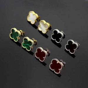 Europe America Fashion Lady Women Brass Vintage Single Motif Multicolor Gemstone Four Leaf Flower 18k Gold Stud Earrings 1.4CM