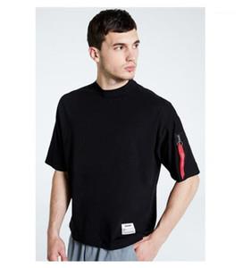 Fashion Zipper Natural Color Tees Casual Crew Neck Short Sleeve Tees Mens Clothing Summer Mens Designer T-Shirts