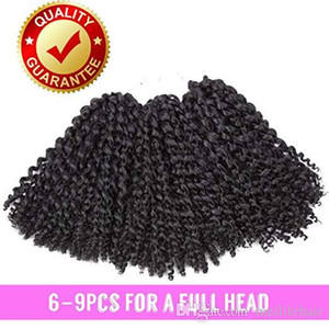Mali Bob Kinky Curly Crochet cheveux Marlybob Crochet Tresses vague bouclée Crochet Tressage Hair Extensions 3 Packs (8 pouces noir)