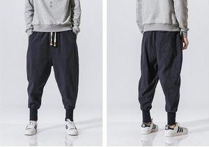 Yeni Mağaza Japon Rahat Pamuk Keten Pantolon Erkek Harem Pantolon Erkekler Ayak Bileği Bantlı Jogging Yapan Pantolon Çince Geleneksel Giydirin