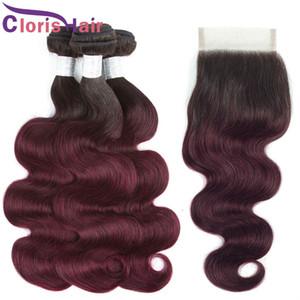 Full 4PCS Burgundy Ombre Human Hair Weaves закрытие цветной 1B 99J RAW Virgin Insian Indian Extens Extension 3 пакета с закрытием кружева 4x4