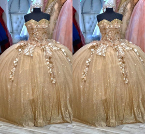 Glitter Gold Sequined Flowers Cheap Ball Gown Quinceanera Prom Dresses Sweetheart Pleated Lace Corset Back Sweet 15 masquerade evening gown