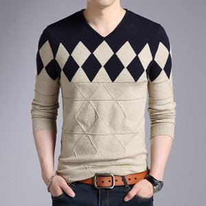 2018 Cashmere Wool Sweater Men Autumn Winter Slim Fit Pullovers Men Argyle Pattern V-Neck Pull Homme Christmas SweatersMX190926